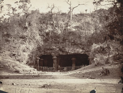 [Facade of the cave temple at] Elephanta.